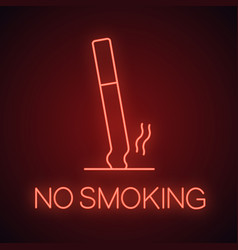 Ashtray with stubbed out cigarette neon light icon vector