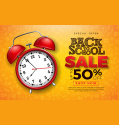 back to school sale design with red alarm clock vector image
