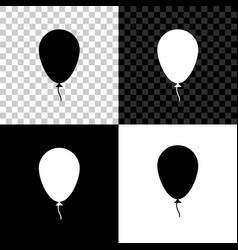 balloon with ribbon icon isolated on black white vector image