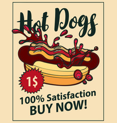 Banner with hot dog in retro style vector