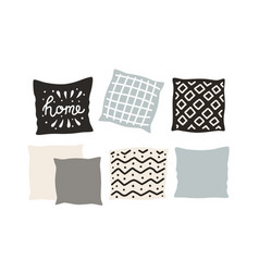 Beautiful pillows on a white background hand vector