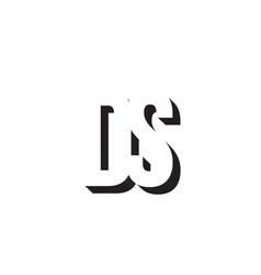 black and white ds d s alphabet letter logo vector image