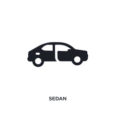 Black sedan isolated icon simple element from vector