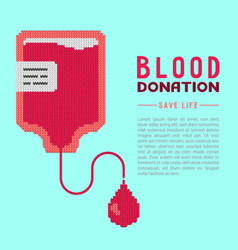 blood donation concept knitted blood bag vector image