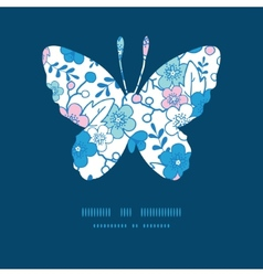 Blue and pink kimono blossoms butterfly vector