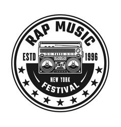 Boombox hip-hop music round black emblem vector