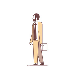 businessman standing pose holding paper document vector image