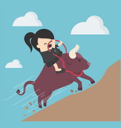 businesswoman riding a bull a symbol of vector image