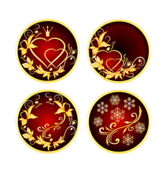 buttons red with golden ornaments vector image