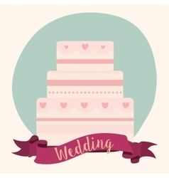 cake ribbon wedding marriage icon graphic vector image