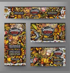 cartoon doodle set autumn corporate identity vector image