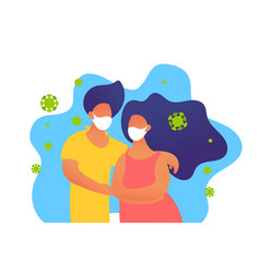 cartoon man and woman in masks protected from vector image