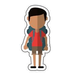 cartoon man wearing short with backpack travel vector image