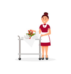 cheerful waitress pushing trolley with breakfast vector image