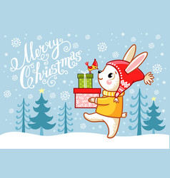 Christmas card with a hare which carries gifts vector