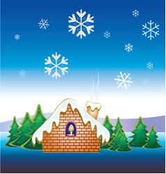 christmas snow house vector image
