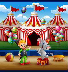 circus elephant and trainer on the arena with circ vector image