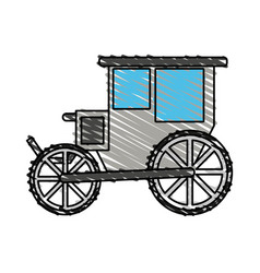 Color crayon stripe image wedding carriage without vector