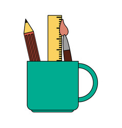 Color image cartoon pencil holder with brush and vector