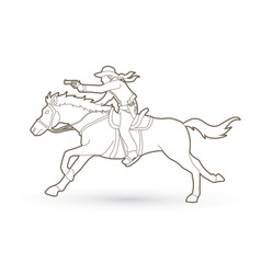 Cowboy riding horseaiming gun outline graphic vector