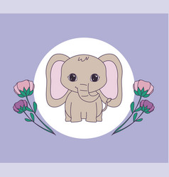 Cute elephant in frame circular with flowers vector