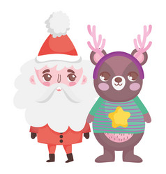 cute santa bear with horns and sweater merry vector image