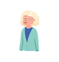 Cute smiling granny avatar with white hair vector