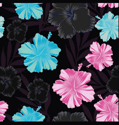 dark pink blue hibiscus seamless black background vector image