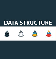 data structure icon set four simple symbols in vector image
