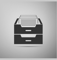 Drawer with documents icon on grey background vector