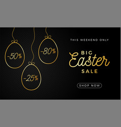 easter egg horizontal banner easter card with vector image