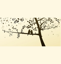 Enamored birds sitting on a tree in a romantic vector