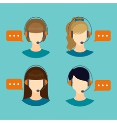 Female call center avatar icons vector