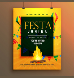 Festa junina poster design for brazilian holiday vector