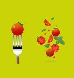 fresh tomato on fork with flying tomatoes vector image