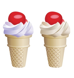 Fruit icecream cones vector