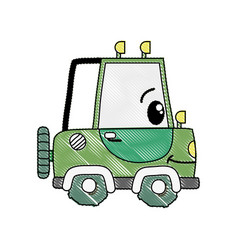 Grated kawaii happy tractor vehicle transport vector