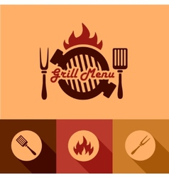 grill menu design elements vector image