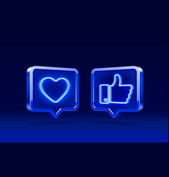 hand and heart like neon icon sign follower 3d vector image