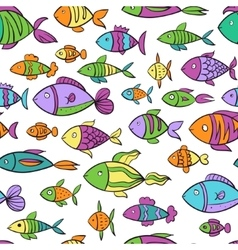 Hand drawn colorful seamless pattern with fishes vector image