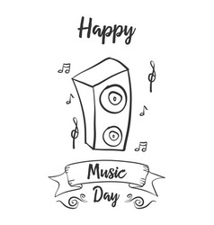 Happy music day doodle card vector