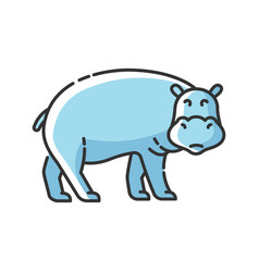 Hippo rgb color icon vector
