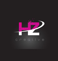 hz h z creative letters design with white pink vector image