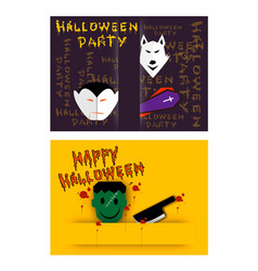 jack-o-lanterns and evils on halloween party backg vector image