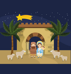 Joseph and mary with jesus to epiphany celebration vector