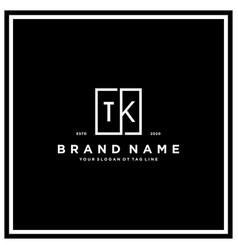 Letter tk square logo design concept vector