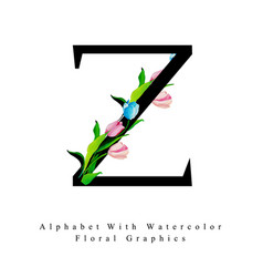 Letter z watercolor floral background vector