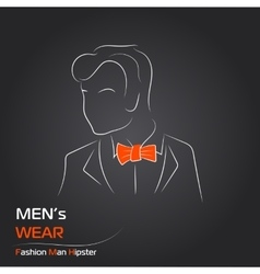 Man with orange butterfly on black vector image
