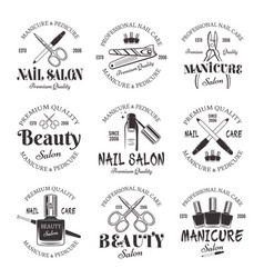 Manicure and pedicure salon black emblems vector