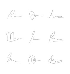 Manual signature for documents on white vector